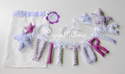 Vittoria: una ghirlanda lilla e malva per decorare la sua cameretta con il suo nome!