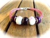 Bracciale Rosa Cuoio e perle