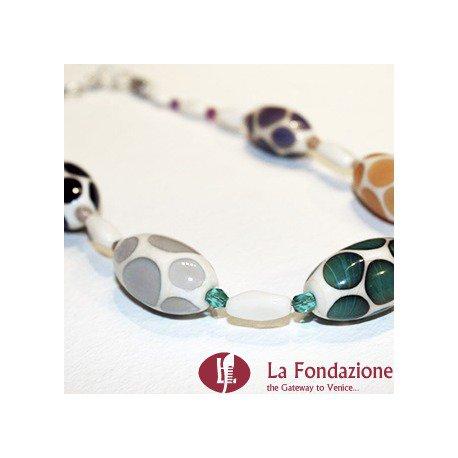 Collana Pois Multicolore in vetro di Murano fatto a mano