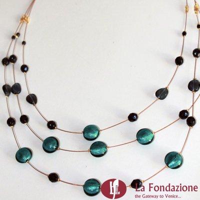 Collana 3 cavi acciaio con perle  verde acqua in vetro di Murano fatto a mano
