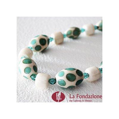 Collana Pois Monocolore  verde acqua in vetro di Murano fatto a mano