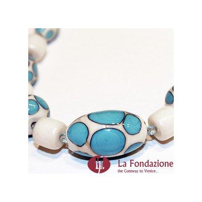 Collana Pois Monocolore  azzurra in vetro di Murano fatto a mano