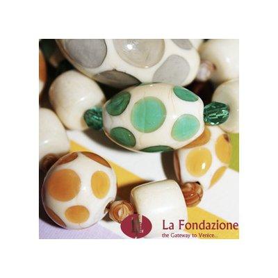 Collana Pois Monocolore  grigia in vetro di Murano fatto a mano