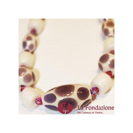 Collana Pois Monocolore  marrone in vetro di Murano fatto a mano
