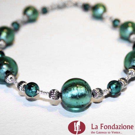 Collana Eva verde in vetro di Murano fatto a mano
