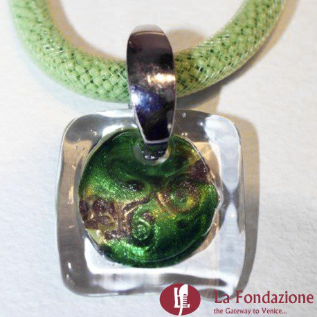 Collana Rete Acquario  verde in vetro di Murano fatto a mano
