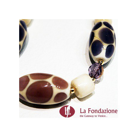 Collana Pois Marrone e Nera  in vetro di Murano fatto a mano