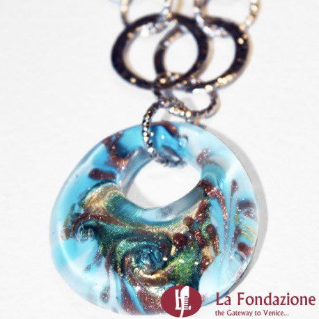 Collana Pavone Perle  azzurra in vetro di Murano fatto a mano
