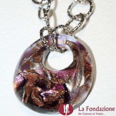 Collana Pavone Perle  viola in vetro di Murano fatto a mano