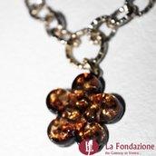 Collana Piccolo Fiore ambra in vetro di Murano fatto a mano