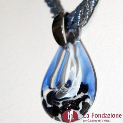 Collana Conteria  Avventurina Bassa  azzurra in vetro di Murano fatto a mano