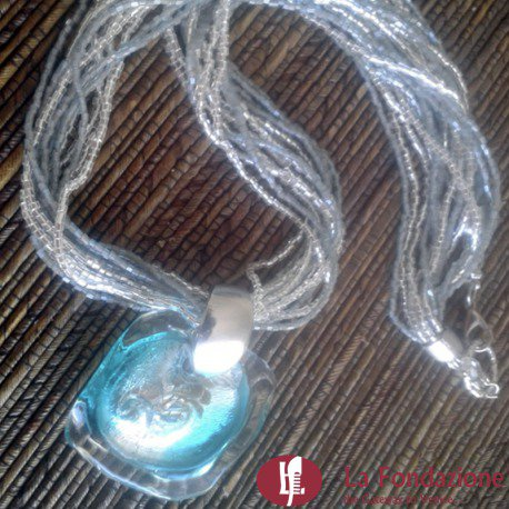 Collana Acquario con conteria  azzurra in vetro di Murano fatto a mano