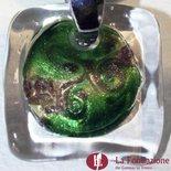 Collana Acquario con conteria  verde in vetro di Murano fatto a mano