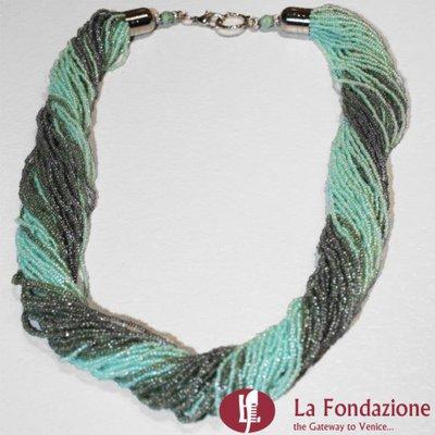 Collana Torchon Maxi Lago  in vetro di Murano fatto a mano