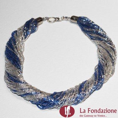 Collana Torchon Maxi Mare  blu e argento in vetro di Murano fatto a mano