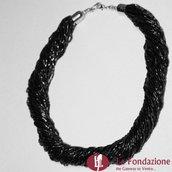 Collana Torchon Maxi Dark nero in vetro di Murano fatto a mano