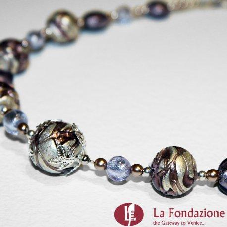 Collana Vetrata viola in vetro di Murano fatto a mano