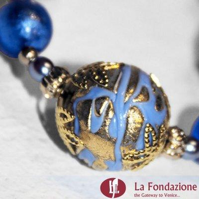 Collana Vetrata azzurra in vetro di Murano fatto a mano