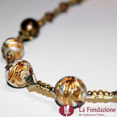 Collana Vetrata oro in vetro di Murano fatto a mano