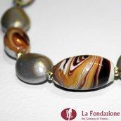 Collana Marmo  ambra in vetro di Murano fatto a mano