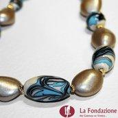 Collana Marmo  azzurra in vetro di Murano fatto a mano