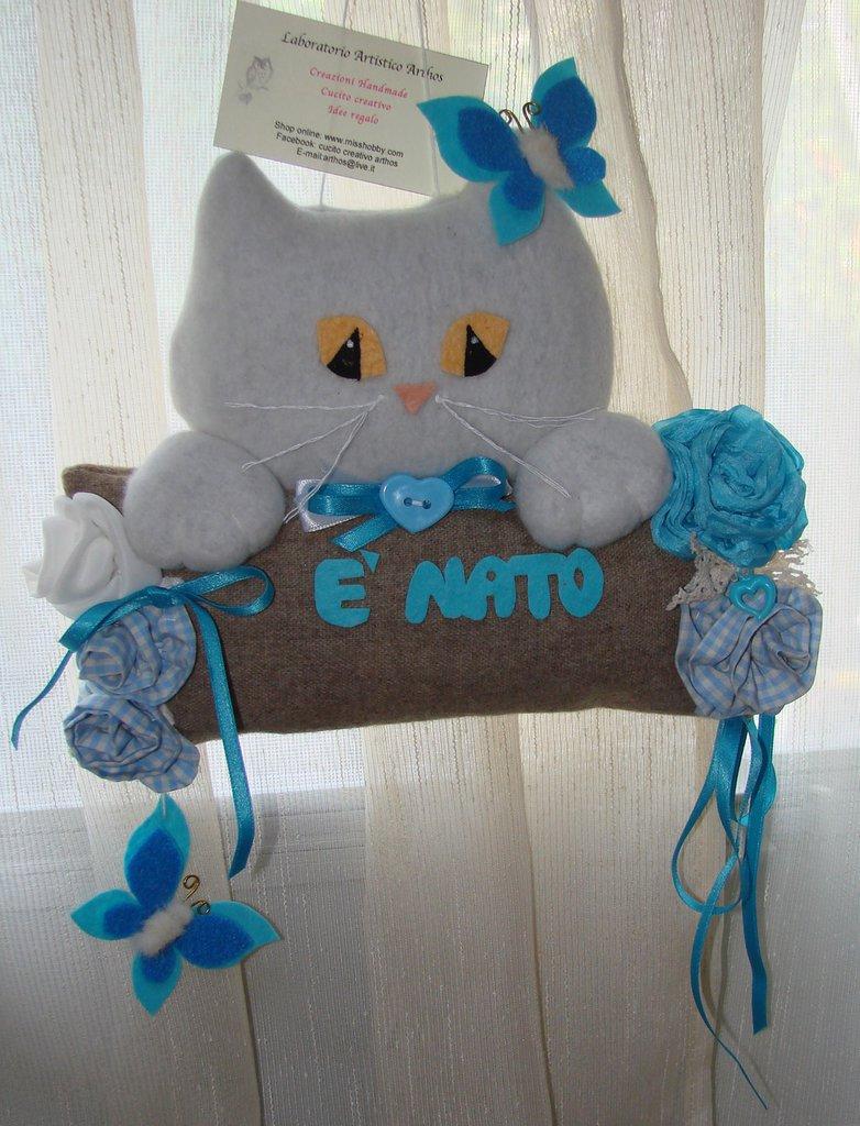 Gatto fiocco nascita per bambino  fatto a mano artigianale bimbo maschietto azzurro