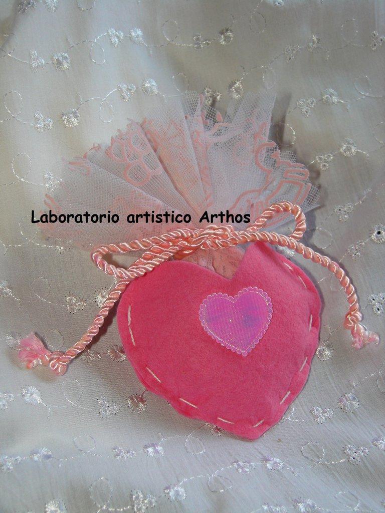 Favoloso Sacchetto portaconfetti cuore rosa x bomboniera fai da te  IP24