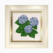 Hydrangea  - Schema Punto Croce Mazzo Ortensie  Blu - Ellen Maurer Stroh - EMS034