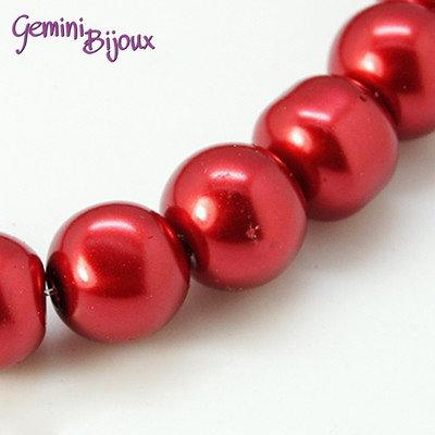 Lotto 20 perle tonde in vetro cerato 8mm rosso