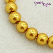 Lotto 20 perle tonde in vetro cerato 8mm giallo oro