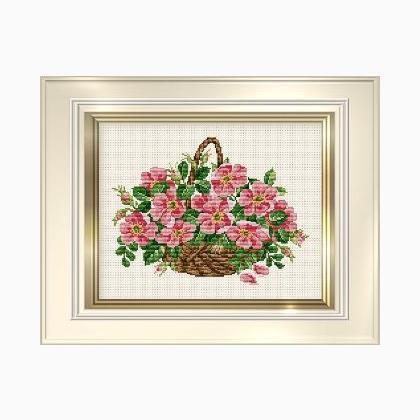 Wild Rose Basket - Ellen Maurer Stroh - Schema Punto Croce Cesto di Rose - EMS083