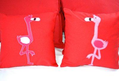Coppia di cuscini con fenicottero