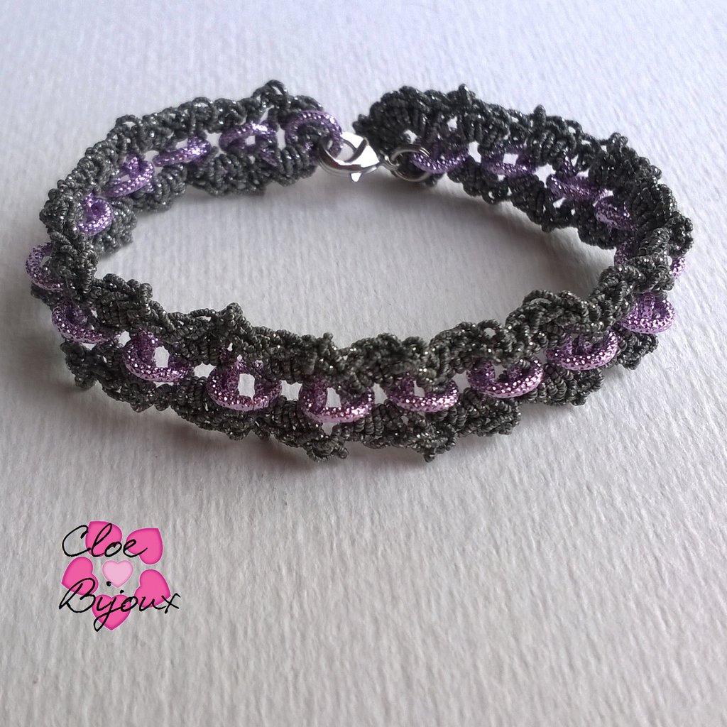 Bracciale Crochet con catena rosa e grigio scuro