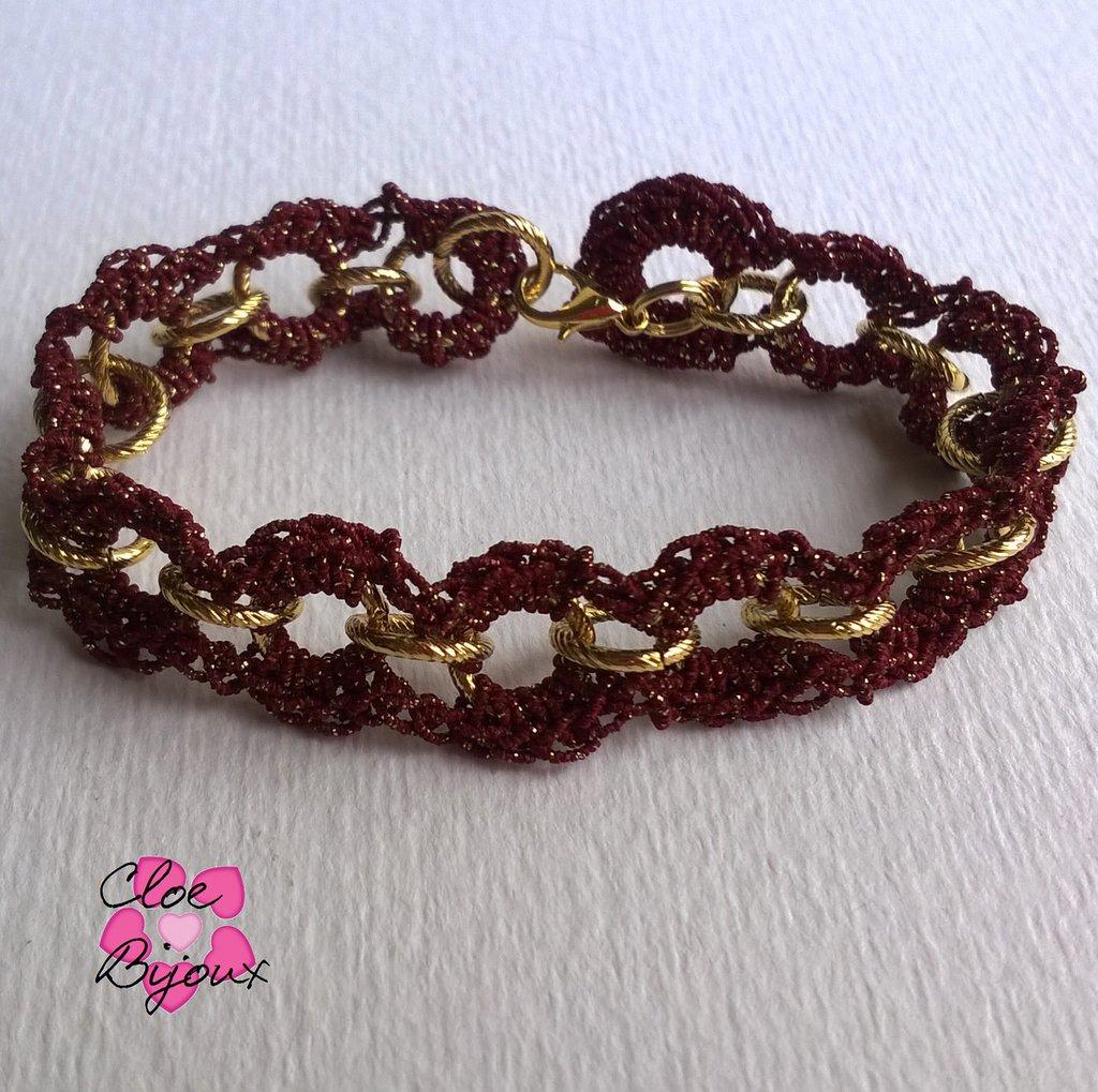 Bracciale Crochet con catena oro e rosso
