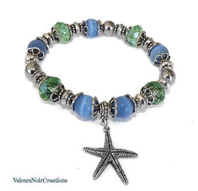 Bracciale con ciondolo stella marina, perle azzurre e cristalli verdi