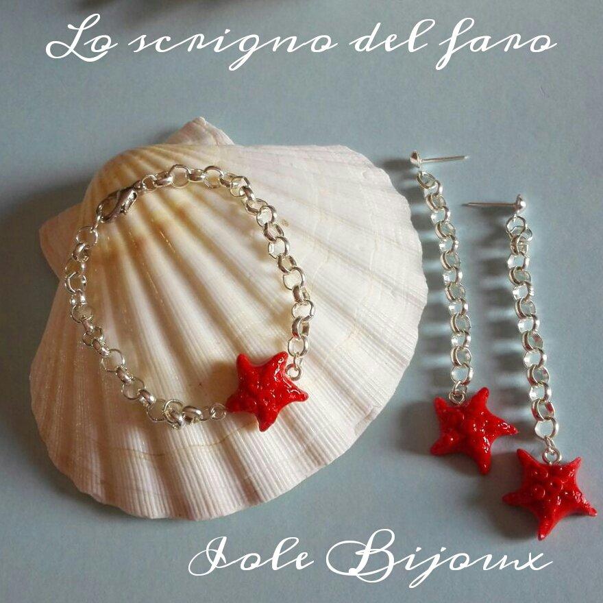 Orecchini pendenti e bracciale con stella marina rossa in fimo