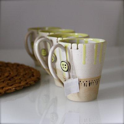 Tazze su ordinazione in ceramica per thè, caffelatte, cappuccino, con gancio per bustina. Set di 4
