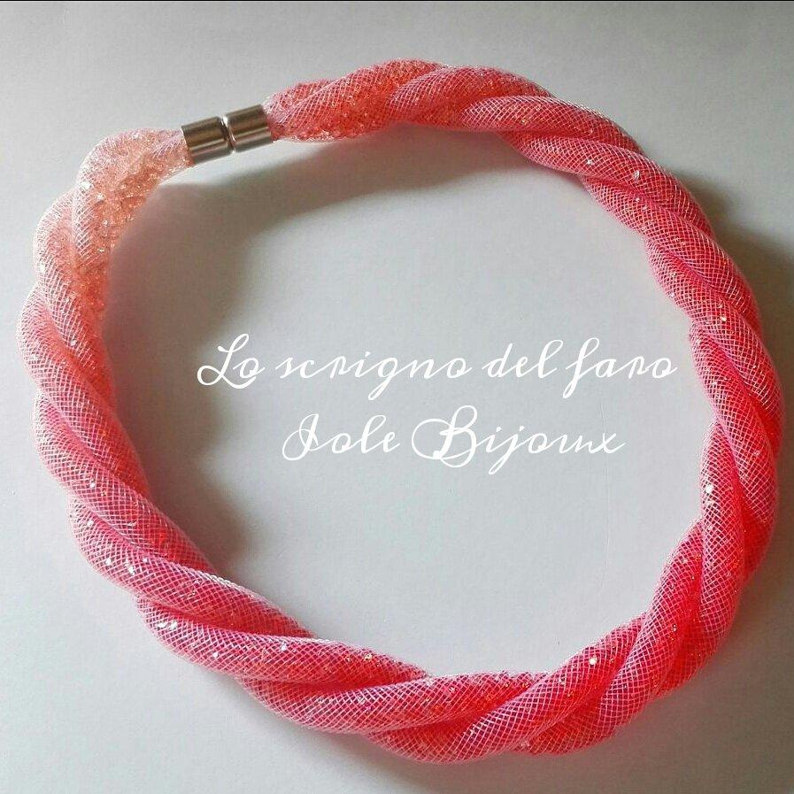 Collana torchon 3 fili rete tubolare stile Stardust sfumature di rosa corallo