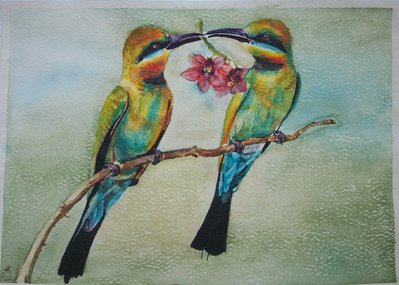 Gli uccelli del paradiso, acquerello , dipinto originale / The birds of paradise, watercolor, original painting