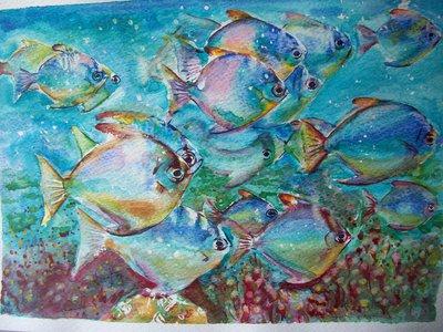 Branco dei pesci, acquerello, dipinto originale / Shoal of fish, watercolor, original painting