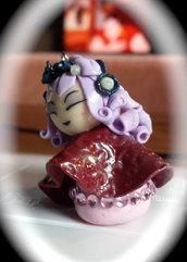 Pendente bambolina giapponese in fimo kokeshi