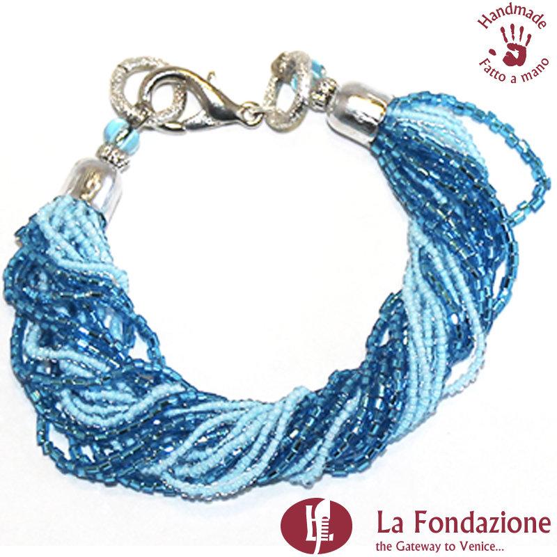 Bracciale Mariner blu in vetro di Murano fatto a mano