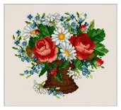 Roses and Daisies - Schema Punto Croce Rose e Margherite - Ellen Maurer Stroh - EMS029