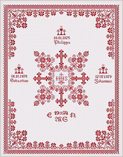 Christening Cloth - Ellen Maurer Stroh - Schema Punto Croce Battesimo - EMS041