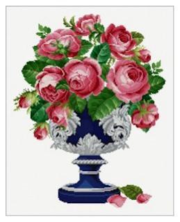Roses in Silver Urn - Schema Punto Croce Rose in Vaso Argento - Ellen Maurer Stroh - EMS047A
