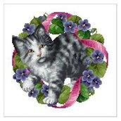 Flowercat Gino - Schema Punto Croce Ghirlanda Gattino - Ellen Maurer Stroh - EMS054