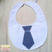1 bavaglino cravatta fondo grigio scuro con pois azzurro