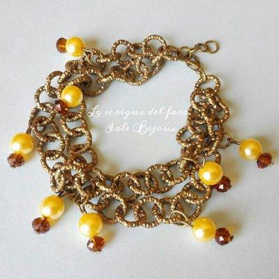 Bracciale doppia catena bronzo con perline color crema e cristalli marroni