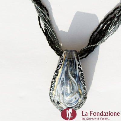 Collana Lingua Bordo Murrina  azzurra in vetro di Murano fatto a mano