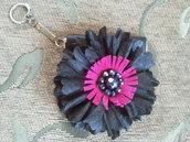 Portamonete portachiavi in pelle fatto a mano con fiore di pelle